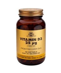 25 mcg vitamin D3 (1000 IU), 100softgels