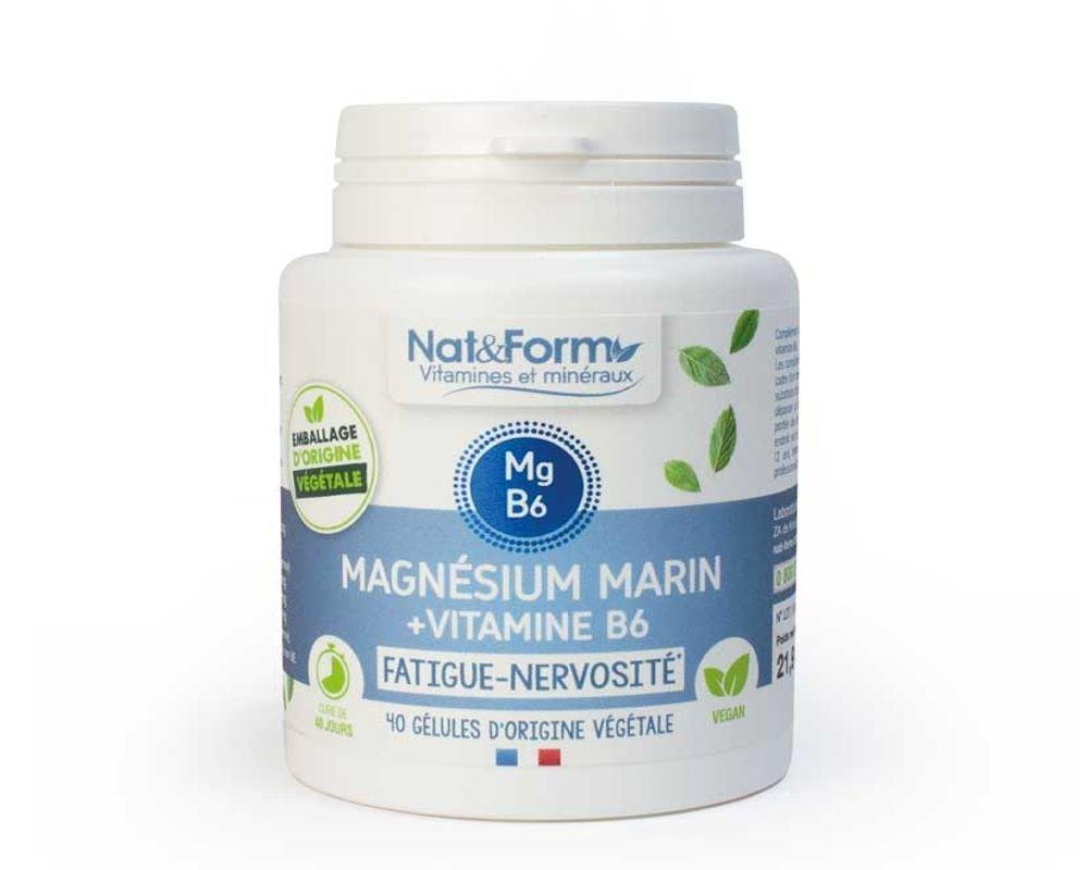 Magnesium marin + Vitamine B6 - Fatigue - Nat et Form - 80..