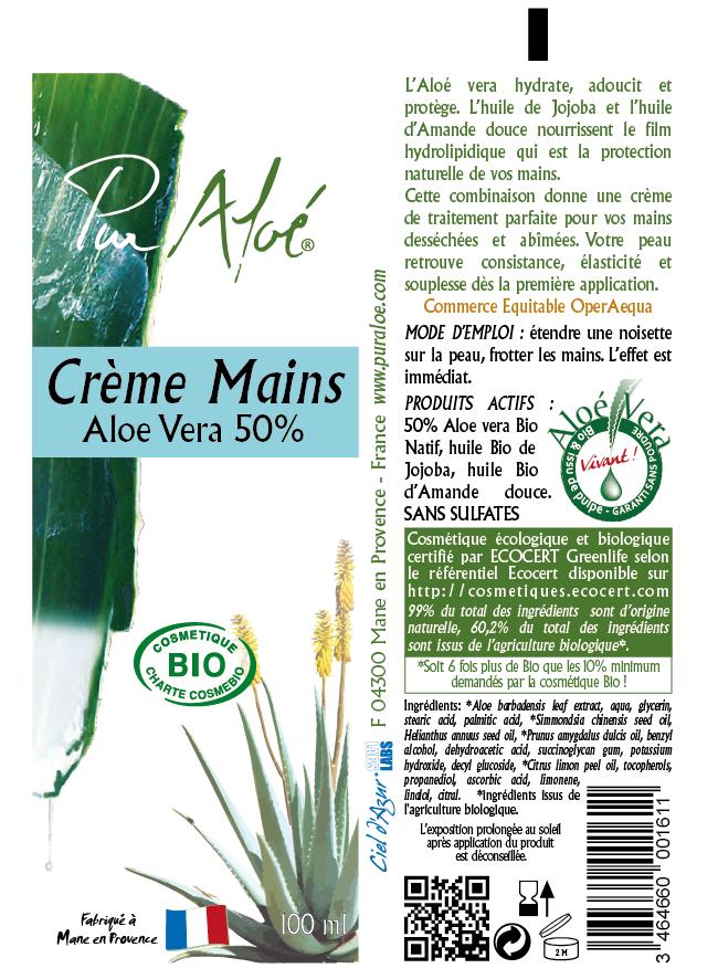 Etiquette crème mains Pur Aloe