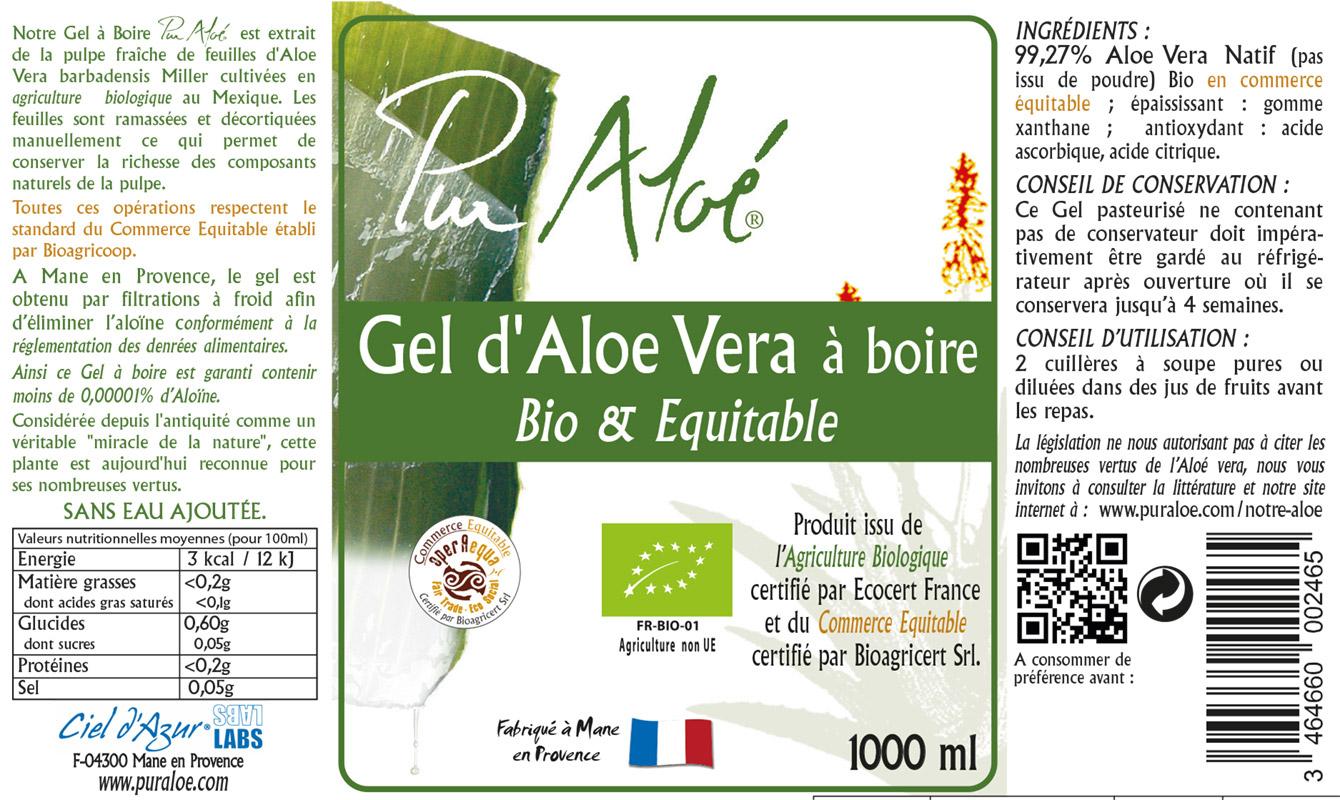 Etiquette gel d'aloe vera à boire 1L Pur Aloe
