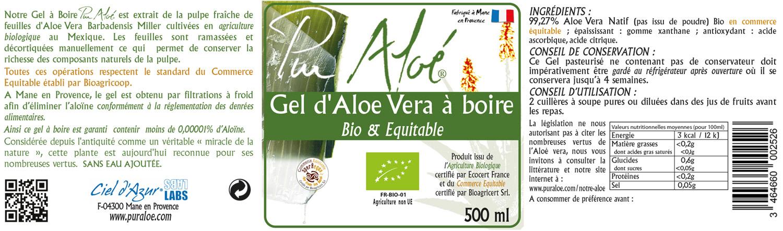 Etiquette gel à boire 500ml Pur Aloe