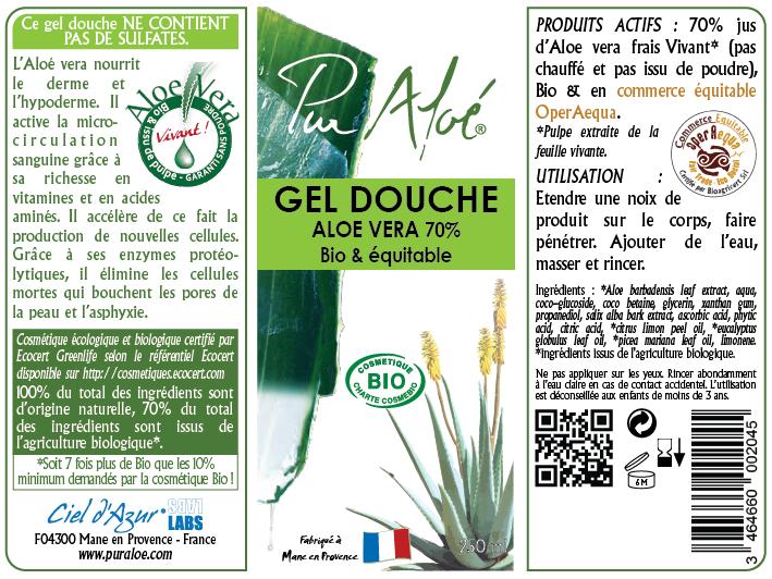 Etiquette Gel douche Pur Aloe