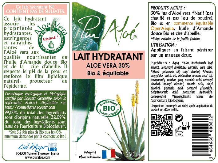 Etiquette Lait corporel Pur Aloe