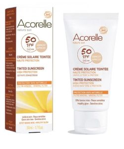 cr me solaire teint e spf 50 bio peau sensible acorelle 50 ml. Black Bedroom Furniture Sets. Home Design Ideas