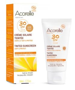 cr me solaire teint e spf 30 bio peau sensible acorelle 50 ml. Black Bedroom Furniture Sets. Home Design Ideas